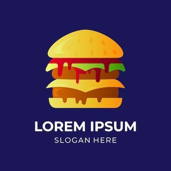 Diseño de logotipo de hamburguesa con estilo colorido 3d