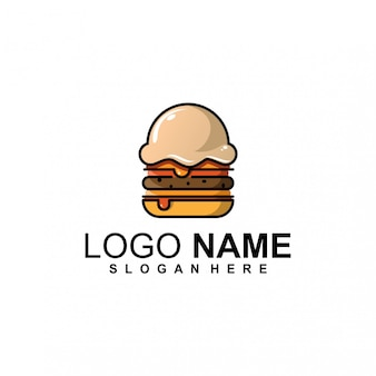 Diseño de logotipo de helado de hamburguesa