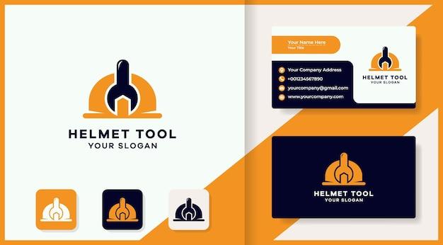 Diseño de logotipo de herramienta de casco y tarjeta de visita.