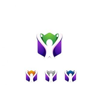 Diseño de logotipo hexágono y personas