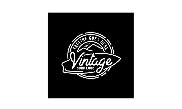 Diseño de logotipo hipster stamp surf