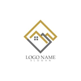 Diseño de logotipo de hogar y casa, propiedad y construcción.