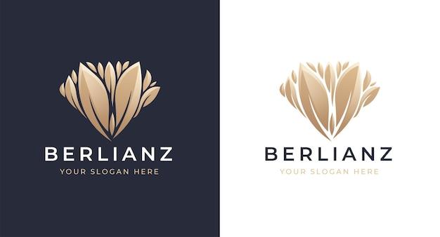 Diseño de logotipo de hoja de diamante dorado de lujo