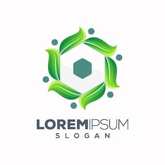 Diseño de logotipo de hoja hexagonal