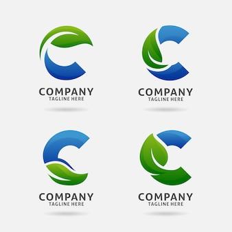 Diseño de logotipo de hoja letra c