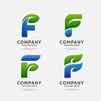 Diseño de logotipo de hoja letra f