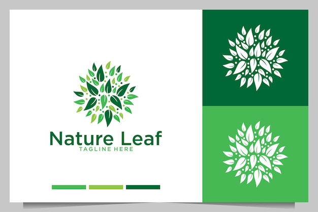 Diseño de logotipo de hoja de naturaleza verde
