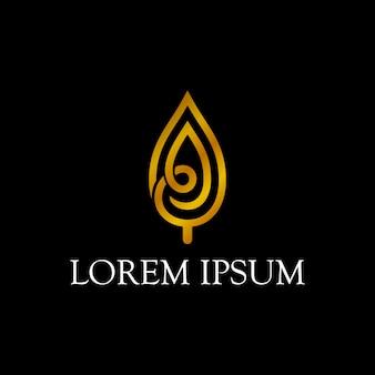 Diseño de logotipo de hoja de oro de lujo con estilo de arte de línea