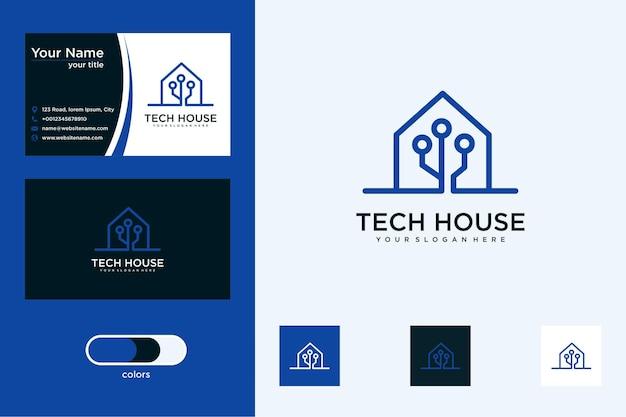 Diseño de logotipo de home tech y tarjeta de visita.