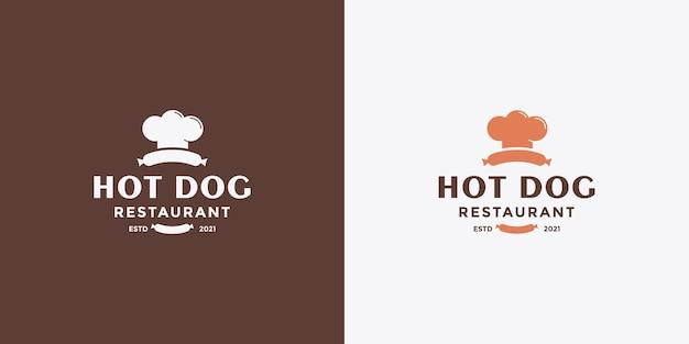 Diseño de logotipo de hot dog minimalista para su restaurante de negocios.