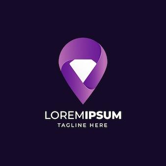 Diseño de logotipo de icono de diamante de punto