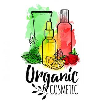 Diseño de logotipo, icono, símbolo, cosméticos orgánicos botellas de cosméticos para el cuidado de la piel con textura de acuarela e ingredientes decorar con frutas, bayas y hierbas