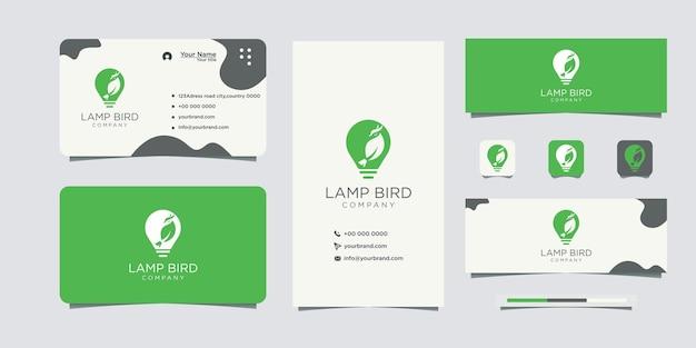 Diseño de logotipo de idea de bombilla de pájaro y tarjeta de visita.