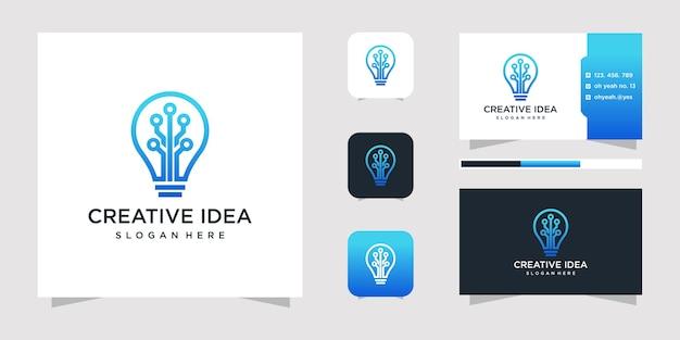 Diseño de logotipo de idea creativa y tarjeta de visita.
