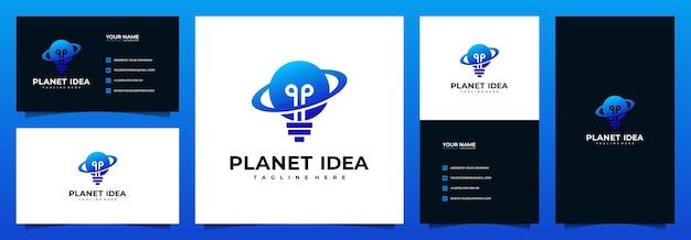 Diseño de logotipo de idea de planeta con plantilla de tarjeta de visita
