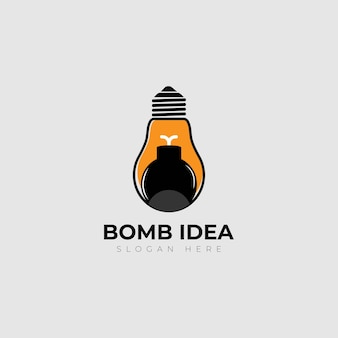 Diseño de logotipo de idea reative de lámpara de bomba