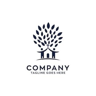 Diseño del logotipo de la iglesia del árbol