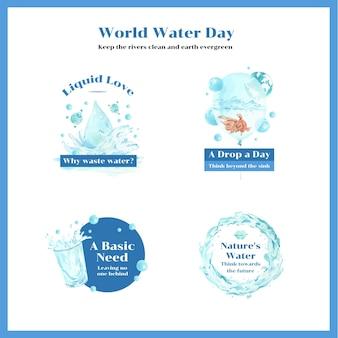 Diseño de logotipo con ilustración acuarela del concepto del día mundial del agua