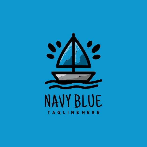 Diseño de logotipo de ilustración de barco azul marino creativo