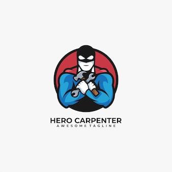 Diseño de logotipo de ilustración de carpintero de héroe