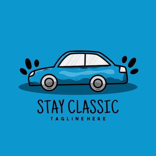 Diseño de logotipo de ilustración de coche azul viejo creativo