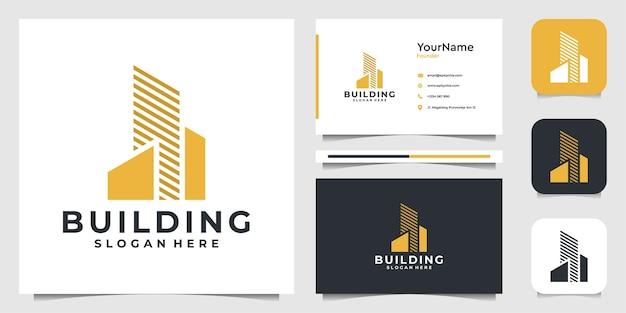 Diseño de logotipo de ilustración de edificio en estilo moderno. logo y tarjeta de visita