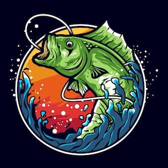 Diseño de logotipo de ilustración de pesca de lubina