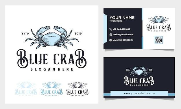 Diseño de logotipo de ilustración vintage de cangrejo azul dibujado a mano con tarjeta de visita