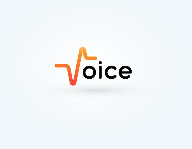 Diseño de logotipo de impulso de sonido para grabación de voz y audio.