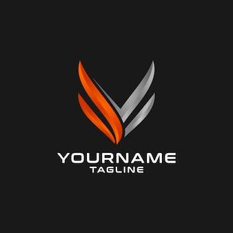 Diseño de logotipo inicial de lujo moderno letra v