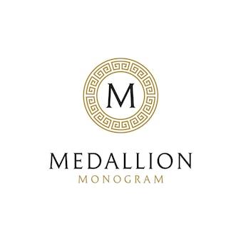 Diseño de logotipo inicial con marco de borde de círculo griego antiguo