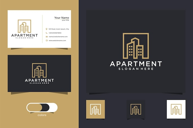 Diseño de logotipo de inmobiliaria de apartamento y tarjeta de visita