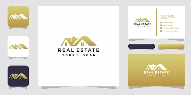 Diseño de logotipo inmobiliario dorado con tarjeta de visita.