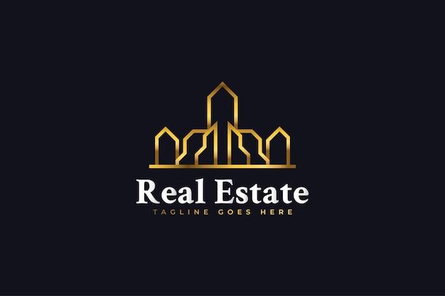 Diseño de logotipo inmobiliario con estilo de línea en degradado dorado. plantilla de diseño de logotipo de construcción, arquitectura o edificio