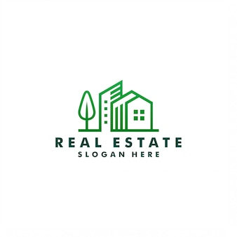 Diseño de logotipo inmobiliario, icono de construcción ilustración