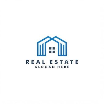 Diseño de logotipo inmobiliario, ilustración de construcción