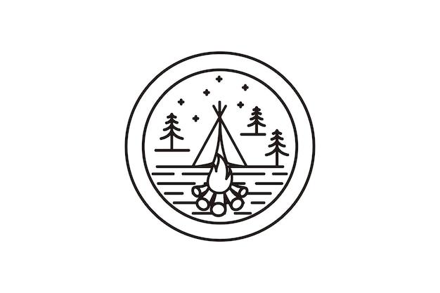 Diseño de logotipo de insignia de campamento de verano en estilo de arte lineal