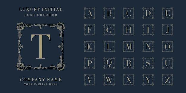 Diseño de logotipo de insignia inicial de lujo premium