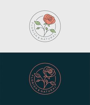 Diseño de logotipo de insignia simple flor rosa.