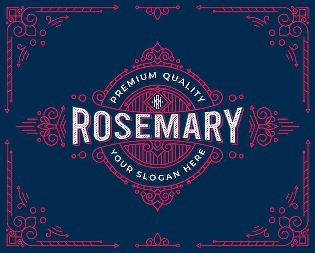 Diseño de logotipo de insignia vintage con adornos florales remolinos 4