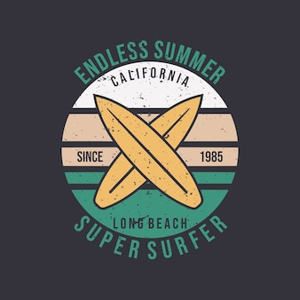 Diseño de logotipo interminable verano california long beach super surfista con tabla de surf ilustración plana