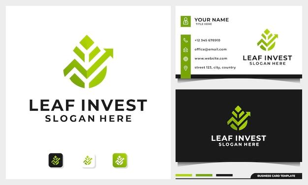 Diseño de logotipo de inversión con nature leaf concept y plantilla de tarjeta de visita