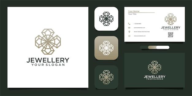 Diseño de logotipo de joyería con línea y tarjeta de visita.