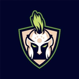 Diseño de logotipo de juego de mascota espartano