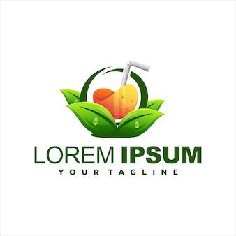 Diseño de logotipo de jugo naranja naturaleza