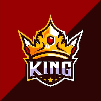 Diseño de logotipo de king crown esport
