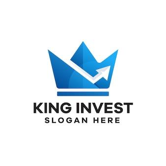 Diseño de logotipo king investment gradient