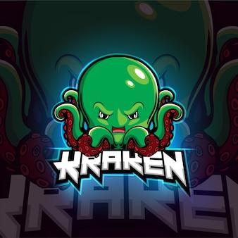 Diseño de logotipo de kraken mascot esport