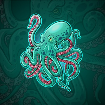Diseño de logotipo kraken octopus mascot esport