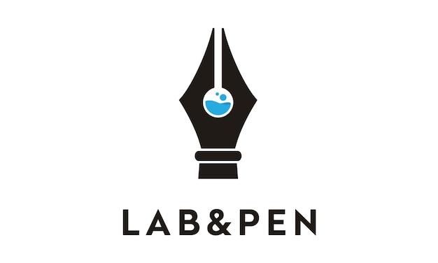 Diseño de logotipo de laboratorio y pluma
